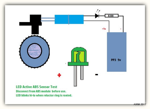 Home build Simple ABS active Wheel Speed Sensor Test